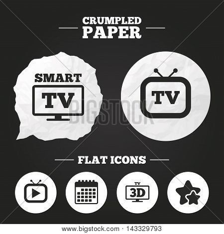 Crumpled paper speech bubble. Smart 3D TV mode icon. Widescreen symbol. Retro television and TV table signs. Paper button. Vector