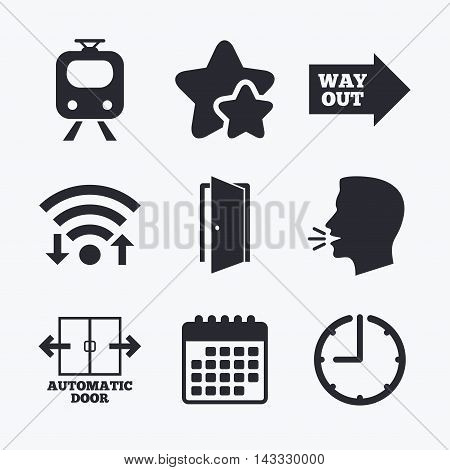 Train railway icon. Automatic door symbol. Way out arrow sign. Wifi internet, favorite stars, calendar and clock. Talking head. Vector