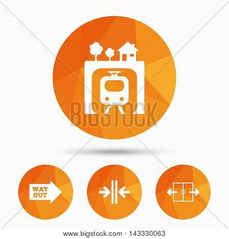Underground metro train icon. Automatic door symbol. Way out arrow sign. Triangular low poly buttons with shadow. Vector