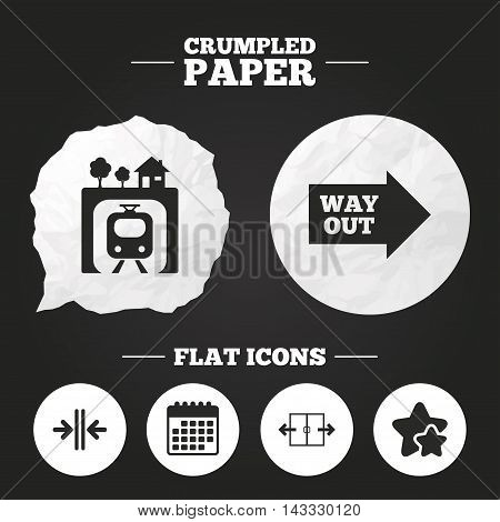 Crumpled paper speech bubble. Underground metro train icon. Automatic door symbol. Way out arrow sign. Paper button. Vector