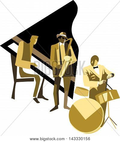 Jazz trio: piano, saxophone and drums payers
