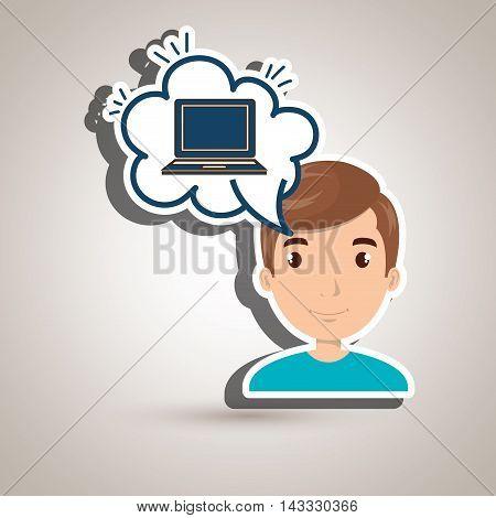 woman technology bublle speak vector illustration design