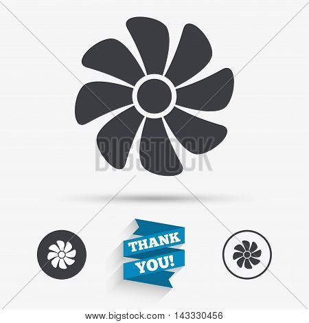 Ventilation sign icon. Ventilator symbol. Flat icons. Buttons with icons. Thank you ribbon. Vector