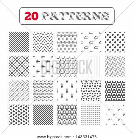 Ornament patterns, diagonal stripes and stars. Weather icons. Cloud and sun signs. Thermometer temperature symbol. Geometric textures. Vector