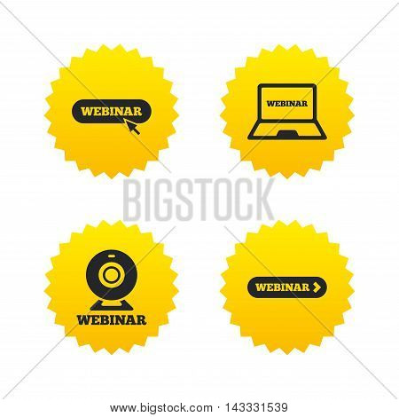 Webinar icons. Web camera and notebook pc signs. Website e-learning or online study symbols. Yellow stars labels with flat icons. Vector