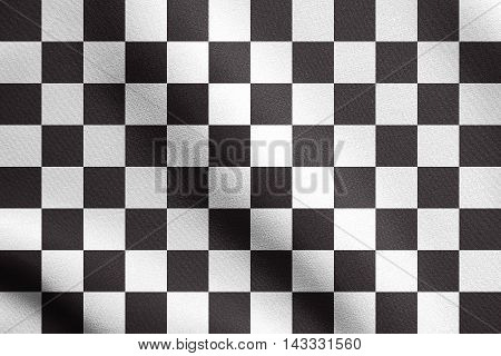 Checkered racing flag waving in the wind with real detailed fabric texture. Textile flag of end of car race. Black and white background. illustration