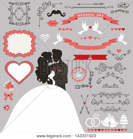 Wedding invitation card decor set.Cartoon kissing couple bride and groom.Swirling borders , brushes, ribbon, wreath, icons, heart and label.Design template kit, save date card.Vintage Vector Illustration, flat.