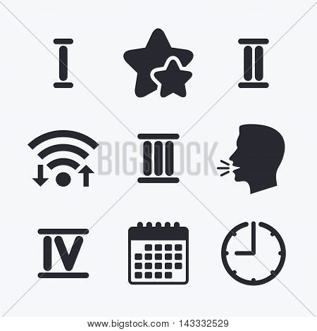Roman numeral icons. 1, 2, 3 and 4 digit characters. Ancient Rome numeric system. Wifi internet, favorite stars, calendar and clock. Talking head. Vector