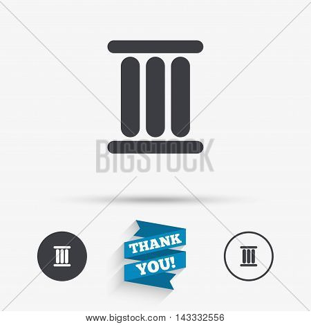 Roman numeral three sign icon. Roman number three symbol. Flat icons. Buttons with icons. Thank you ribbon. Vector