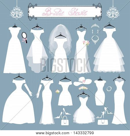 Wedding dresses in Different styles.Fashion bride Dress made in modern style.White dress , accessories set , silhouette.Holiday vector background.Bridal shower composition