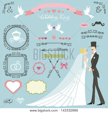 Wedding decor set.Bride in long dress, groom, couple , swrling borders, frames, ribbon, cute, icons and label.Invitation card designers toolkit template.Vintage Vector, flat and fashion