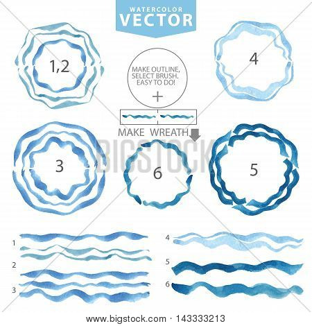 Watercolor hand painting texture.Blue wavy brushes , circle frame, wreath set.Summer background. Bright cyan design template.Vintage blur vector .Holiday, vacation artistic  water stamp.
