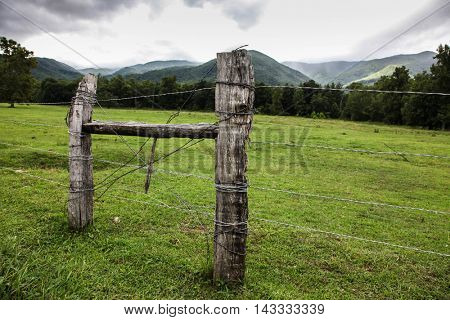 View from Cades Cove in Smnoky Mountains National Park, Tennessee