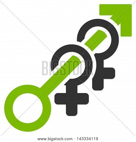 Harem icon. Vector style is bicolor flat iconic symbol with rounded angles, eco green and gray colors, white background.