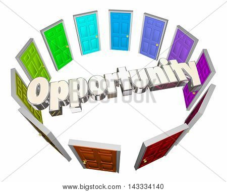 Opportunity Chance Success Choose Path Doors 3d Illustration