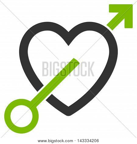 Love Arrow icon. Vector style is bicolor flat iconic symbol with rounded angles, eco green and gray colors, white background.