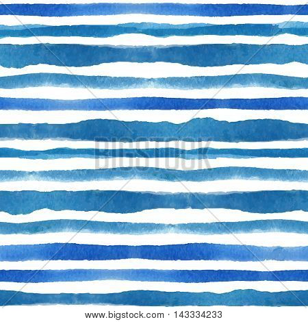 Watercolor seamless pattern border. Blue cyan horizontal strips.Water, sea and ocean wave. Hand drawing painting background .For Backdrop, background, fabric and Wallpaper.Vector.Summer, travel and vacation design.