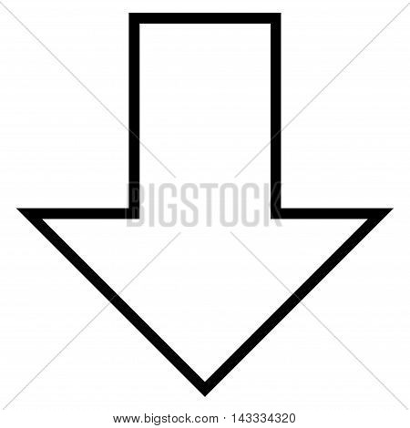 Arrow Down vector icon. Style is thin line icon symbol, black color, white background.