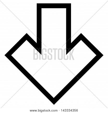 Arrow Down vector icon. Style is contour icon symbol, black color, white background.