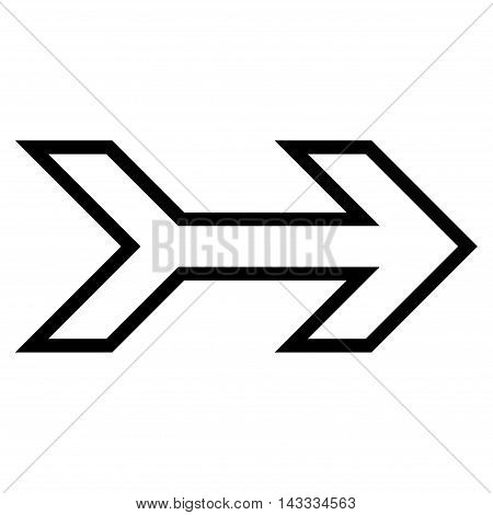 Arrow Right vector icon. Style is stroke icon symbol, black color, white background.