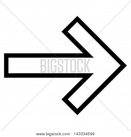 Arrow Right vector icon. Style is thin line icon symbol, black color, white background.