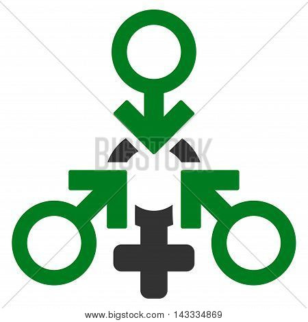 Triple Penetration Sex icon. Vector style is bicolor flat iconic symbol with rounded angles, green and gray colors, white background.