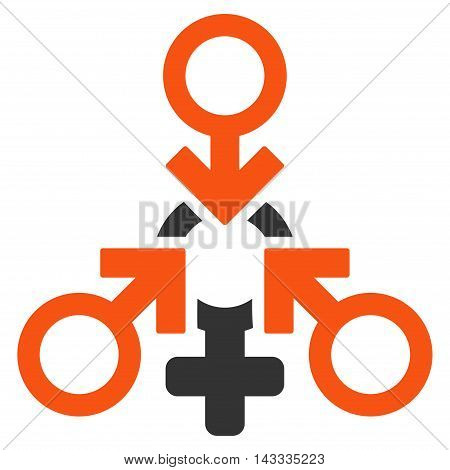 Triple Penetration Sex icon. Vector style is bicolor flat iconic symbol with rounded angles, orange and gray colors, white background.