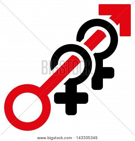 Harem icon. Vector style is bicolor flat iconic symbol with rounded angles, intensive red and black colors, white background.