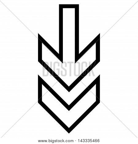 Direction Down vector icon. Style is thin line icon symbol, black color, white background.