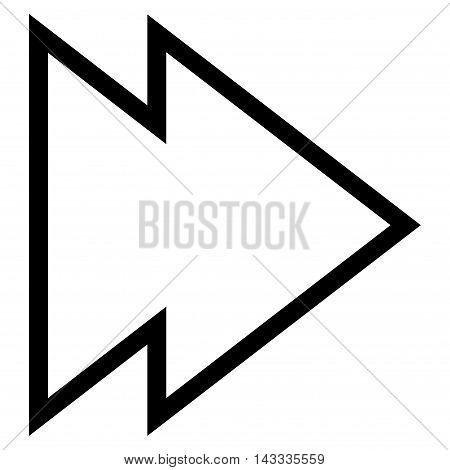 Direction Right vector icon. Style is stroke icon symbol, black color, white background.