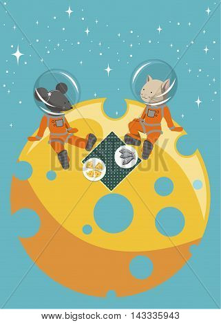 The illustration.  The cat and mouse sitting on the moon in spacesuits. They have a picnic on a table cloth are plates of fish and cheese.