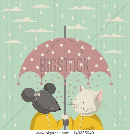 The illustration. Autumn. Cat and mouse in a yellow raincoat standing under a pink umbrella with white polka dots. On the sky clouds and rain.