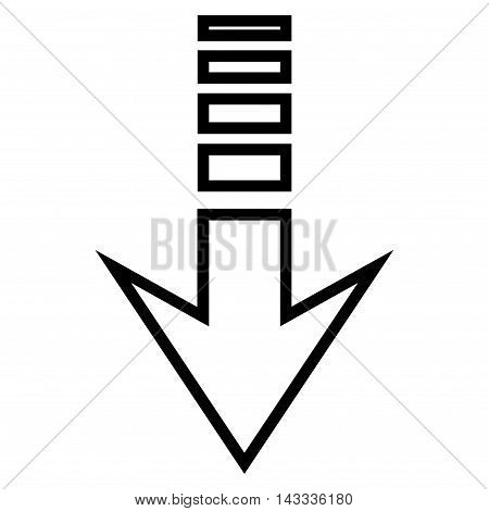 Send Down vector icon. Style is stroke icon symbol, black color, white background.