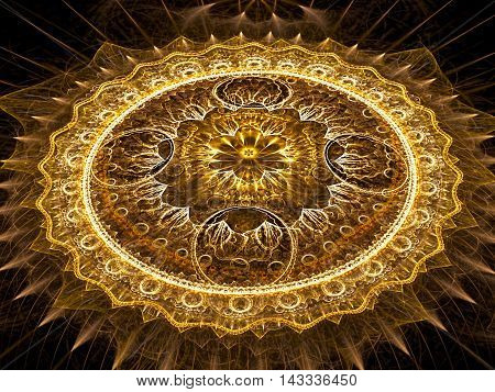 Abstract fractal mandala flower - computer-generated image. Digital art: complex mystical pattern - Circles and curves with light effects. Sacred geometry for banners, web design, covers.