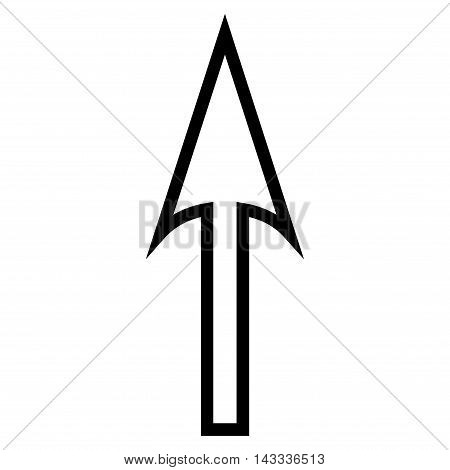 Sharp Arrow Up vector icon. Style is outline icon symbol, black color, white background.