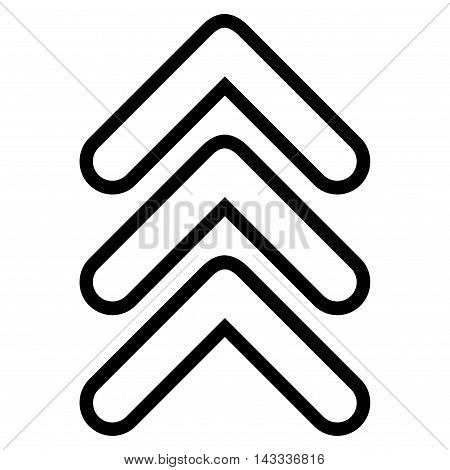 Triple Pointer Up vector icon. Style is thin line icon symbol, black color, white background.
