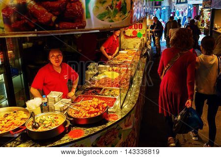 Food Stall At Camden Market, London, Uk