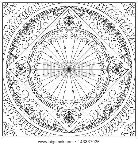 Mandala with hand drawn elements and flowers into the square in Arabic Indian turkish pakistan chinese ottoman tribal motifs. Image for adult coloring book tattoo decorate plates porcelain ceramics crockery. eps 10