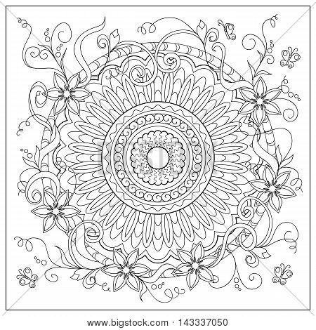 Hand drawn tangled flowers and mandala in the circle. Image for adult coloring book decorate plates porcelain ceramics crockery. eps 10