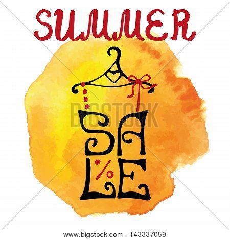 Summer Sale lettering in shirt shape.Lettring, watercolor yellow splash, textured stein.Typographic background design.Shirt hanging on hanger.Fashion vector Illustration.For poster, sticker, web, print