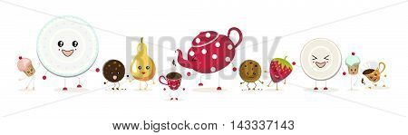 The illustration. Two cupcakes, a red teapot with white polka dots, two cups , two cookies, a pear,a strawberry, a plate and saucer dancing in different poses and with different expressions on faces.