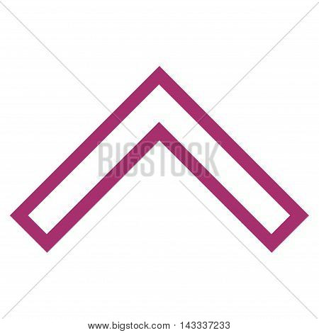 Arrowhead Up vector icon. Style is thin line icon symbol, purple color, white background.