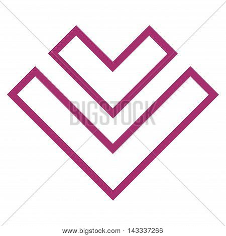 Direction Down vector icon. Style is contour icon symbol, purple color, white background.