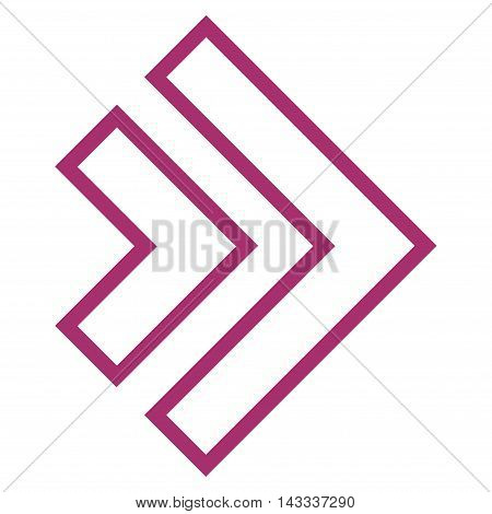Direction Right vector icon. Style is contour icon symbol, purple color, white background.