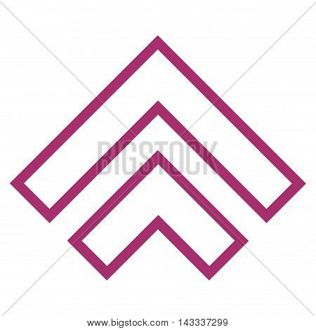 Direction Up vector icon. Style is contour icon symbol, purple color, white background.