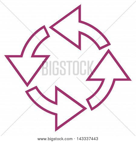 Rotation vector icon. Style is stroke icon symbol, purple color, white background.