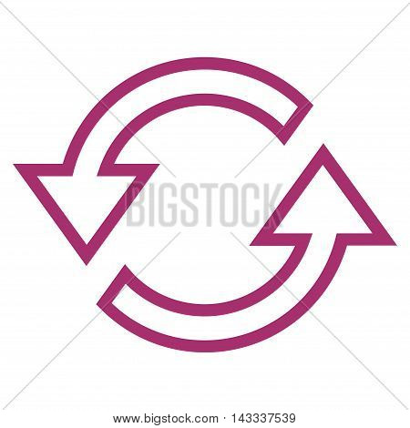 Sync Arrows vector icon. Style is outline icon symbol, purple color, white background.