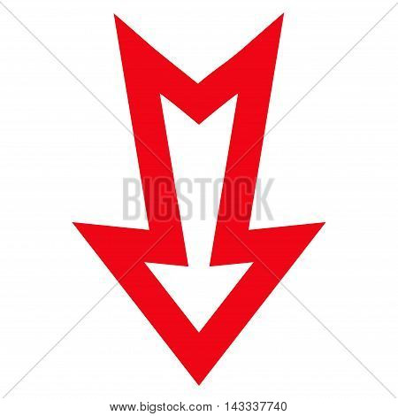 Arrow Down vector icon. Style is outline icon symbol, red color, white background.