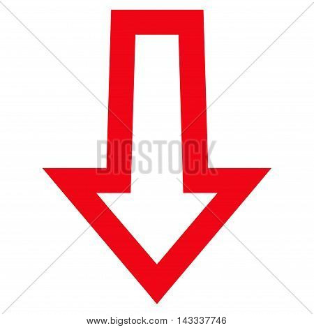 Arrow Down vector icon. Style is thin line icon symbol, red color, white background.