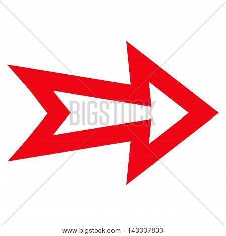 Arrow Right vector icon. Style is outline icon symbol, red color, white background.